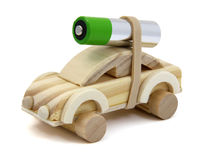 Battery Electric Car. Wooden toy car with a double A battery strapped to the top Stock Images
