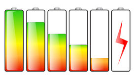 Battery energy levels. Set of  icons shows six levels of battery charge; full, medium, low and empty Stock Images