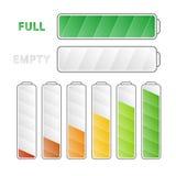 Battery energy levels - vector set. Royalty Free Stock Photo