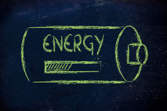 Battery with energy progress bar loading Stock Photo