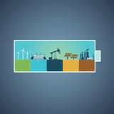 Battery with energy resou. Energy resources. Information design with different types of power plants. Info-graphics template stock illustration