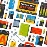 Battery energy seamless pattern vector illustration. Royalty Free Stock Images