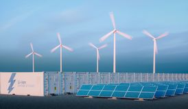 Battery energy storage concept in nice morning light. Hydrogen e. Nergy storage with renewable energy sources - photovoltaic and wind turbine power plant farm Royalty Free Stock Photos