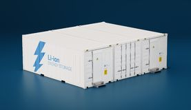 Battery energy storage facility made of shipping containers. 3d. Rendering Royalty Free Stock Photo