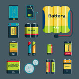 Battery energy tool electricity charge fuel positive supply and disposable generation component alkaline industry. Technology vector illustration. Double stock illustration
