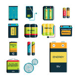 Battery energy tool electricity charge fuel positive supply and generation component alkaline industry. Technology vector illustration. Double rendering stock illustration