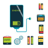 Battery energy tool electricity charge fuel positive supply and isposable generation component alkaline industry Stock Image