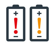 Battery with Exclamation Mark Stock Images