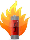 Battery on fire illustration design Stock Photos