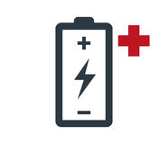 Battery with Flash and Plus Royalty Free Stock Photos