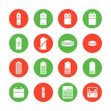 Battery flat glyph icons. Batteries varieties illustrations - aa, alkaline, lithium, car accumulator, charger, full. Charge. Signs for electrical store. Solid royalty free illustration