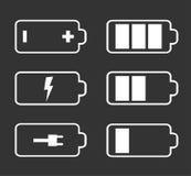 Battery flat icons. Battery indicator flat icons on black background Stock Image