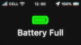 Battery Full appear on old display. Pixeled text animation with phone hud. Green battery icon.