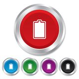 Battery fully charged sign icon. Electricity. Stock Images