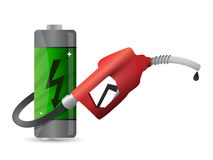 Battery with a gas pump nozzle Stock Image