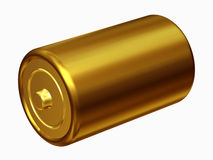 Battery. Golden Battery, energy storage, 3d Illustration Royalty Free Stock Photo