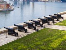 Battery and Grand Harbor. Of Valletta, Malta Stock Photography