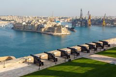 Battery and Grand Harbor of Valletta Stock Photos