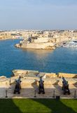 Battery and Grand Harbor of Valletta. Saluting battery and Grand Harbor of Valletta, Malta Royalty Free Stock Photography