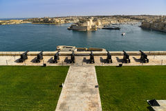 Battery and Grand Harbor of Valletta Stock Image