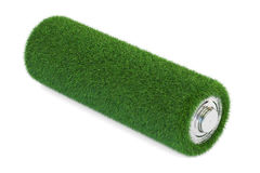 Battery from grass. Ecology, green energy concept, 3D rendering royalty free illustration