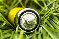 Battery on the grass, green renewable energy concept. Taken in the garden; battery C dimension type royalty free stock photo