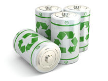 Battery green recycling concept. Batteries on white  background. 3d Royalty Free Stock Photo