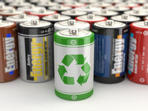 Battery green recycling concept. 3d. Battery green recycling concept. Batteries on white  background. 3d Stock Photos