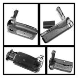 Dslr camera battery grip. Collage of dslr camera battery grips from various angles stock photo