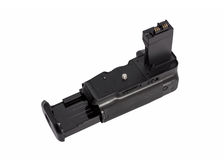 Battery grip for modern DSLR camera Royalty Free Stock Image