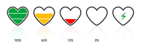 Battery heart. Set of icons in heart shape, on white Stock Photos