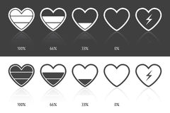 Battery heart. Set of icons in heart shape, on white Stock Photo