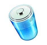 Battery icon. Vector illustration of blue battery icon for web design isolated on the white background Stock Photography
