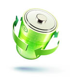 Battery icon. Vector illustration of green battery icon for web design isolated on the white background Stock Image