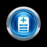 Battery icon blue with metallic edging. Isolated on black background Stock Images