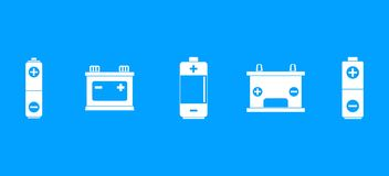 Battery icon blue set vector. Battery icon set. Simple set of battery vector icons for web design isolated on blue background Royalty Free Stock Photo