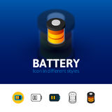 Battery icon in different style Royalty Free Stock Photos