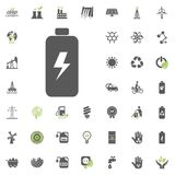 Battery icon. Eco and Alternative Energy vector icon set. Energy source electricity power resource set vector. Battery icon. Eco and Alternative Energy vector Stock Photography