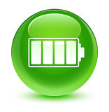 Battery icon glassy green round button Stock Photo