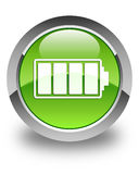 Battery icon glossy green round button Royalty Free Stock Images