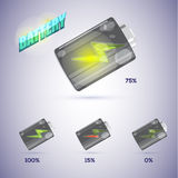 Battery icon with level of charge in realistic style. -  Royalty Free Stock Image