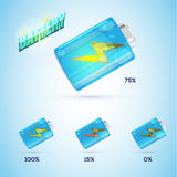 Battery icon with level of charge in realistic style. -  Stock Images