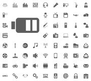 Battery icon. Media, Music and Communication vector illustration icon set. Set of universal icons. Set of 64 icons.  royalty free illustration