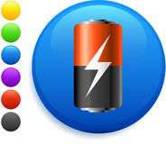 Battery icon on round internet button Stock Image