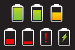 Battery icon set. Illustration Stock Photo