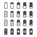 Battery icon set with charge level indicators Stock Photos