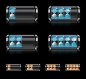 Battery icon set with hourglass vector format Stock Photos