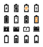 Battery an icon. Set of icons of batteries. A vector illustration Stock Image