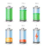 Battery icon set Stock Photos