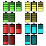 Battery icon set. Four colours five frame animation. Royalty Free Stock Photo